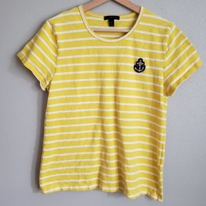 J. Crew Striped Tee with Anchor Embellishment